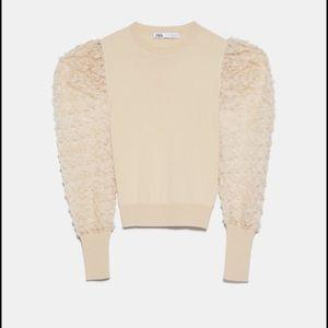 NWOT Zara tulle top size L